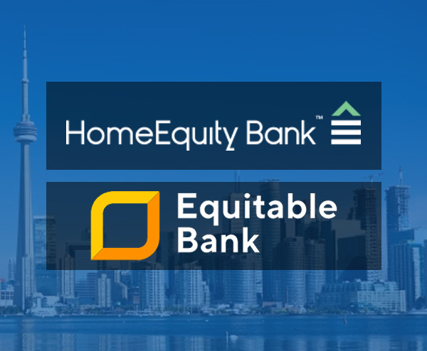 Home equity bank and equitable bank logos for reverse mortgage loans